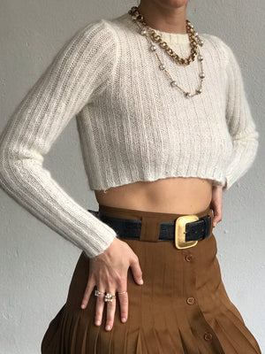 Ivory Ribbed Cropped Knit - Size Xs/Sm