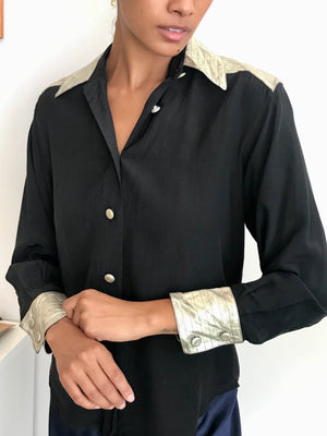 Unbelievable Noir Silk With Golden Leather Accents From France - Size Small-Large