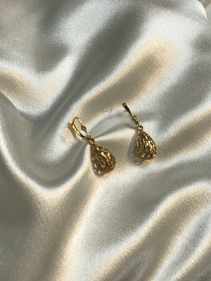 Vintage Lattice Carved 14k Droplet Earrings