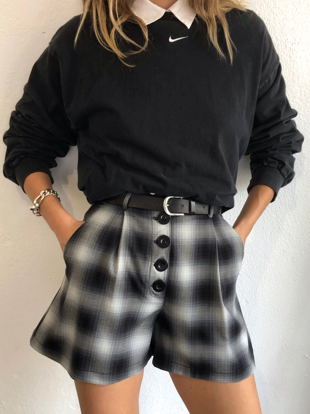 Essential Pleated Shorts In Shadow Plaid