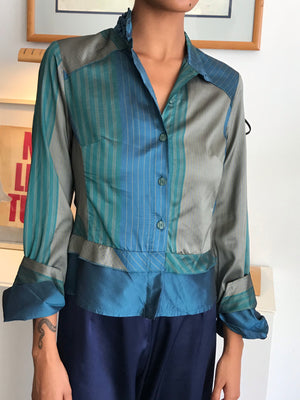 Iridescent 1980s Button Down From France - Size Small-Large