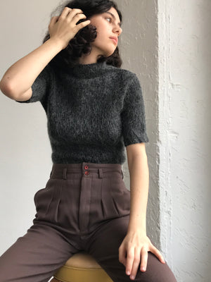 Textured Slate Mohair  - Size Small