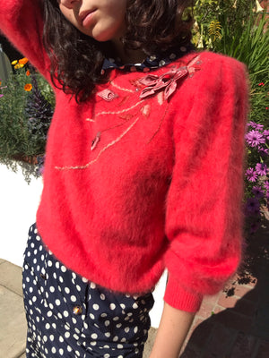 1980s Punch Hued Angora Knit - Size Small to Medium