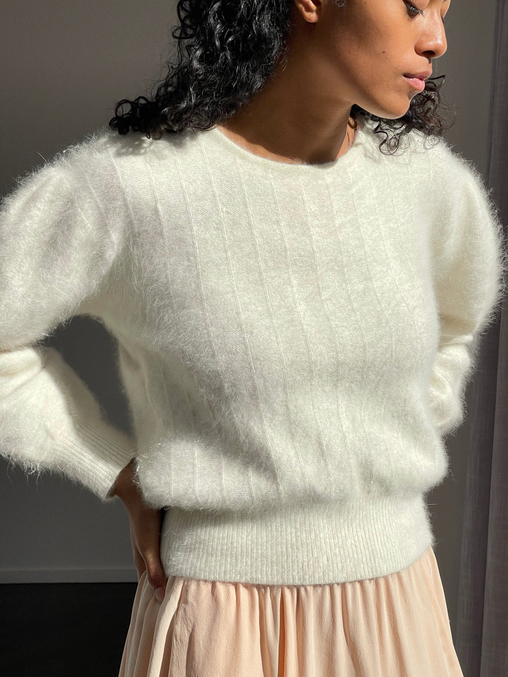 Softest Vintage Cream Angora Knit - Size Medium