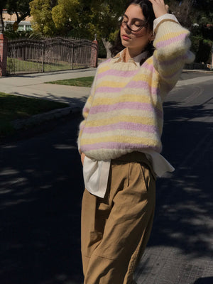Vintage Mohair Candy Stripe - Size Small to Medium