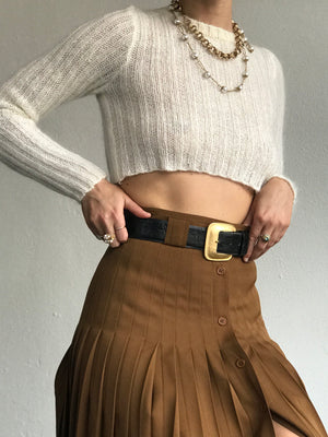 Vintage Cognac Wool Pleated Skirt - Size 4