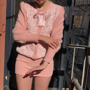 Delicate Blush Bow Angora Knit - Size Small