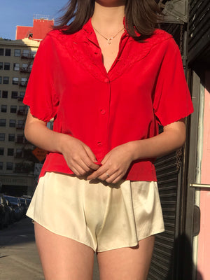 1970s Rose Silk Blouse From France - Size Small