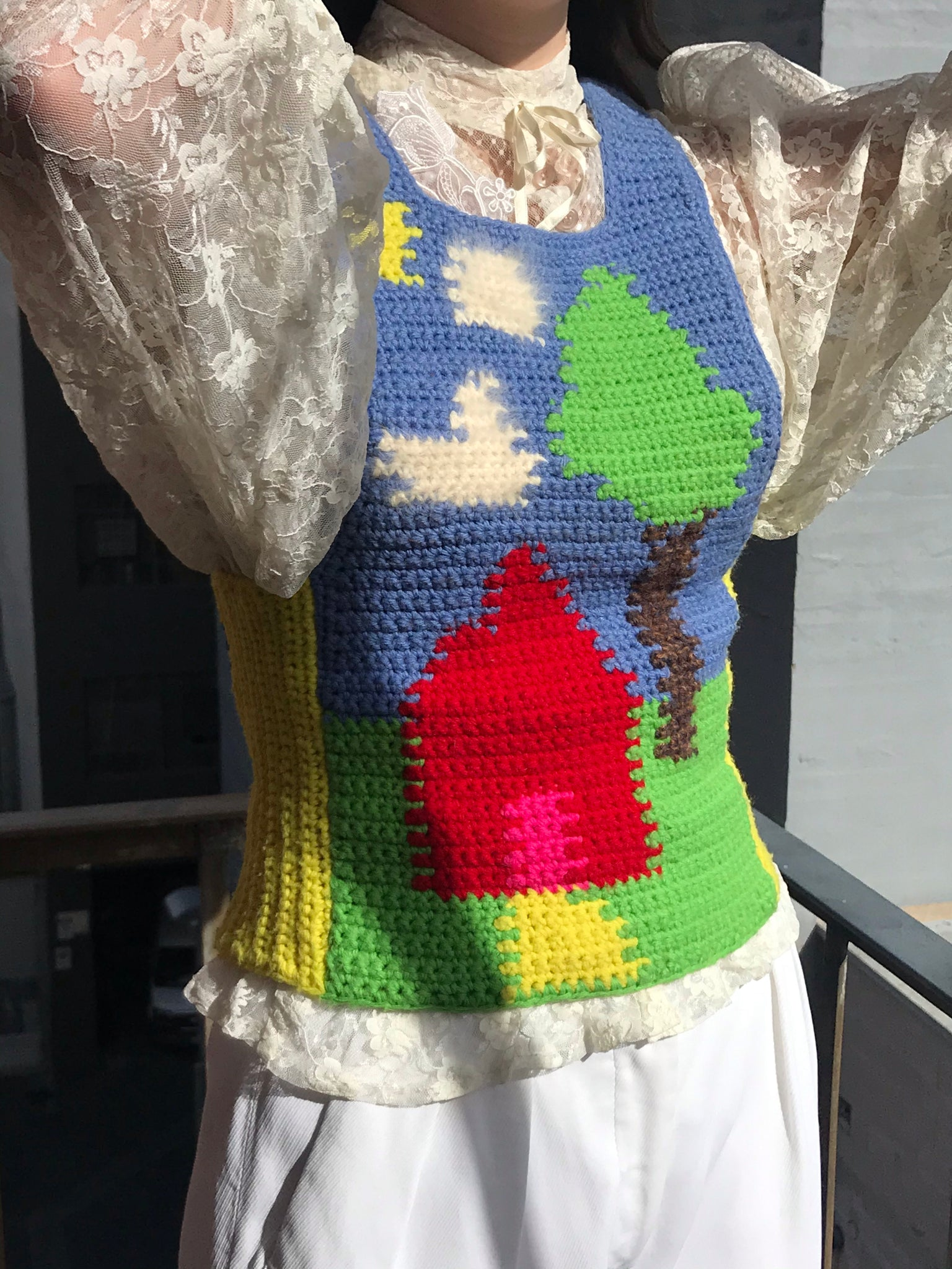 Vintage Home On The Range Crochet Vest - Size Xs