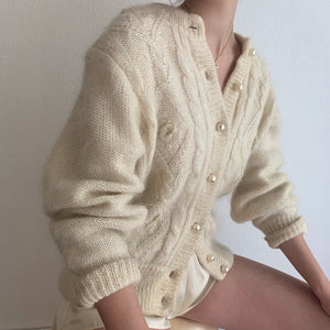 Incredible Oversized Mohair Cardigan With Gobstopper Pearl Buttons - Size Small to Large