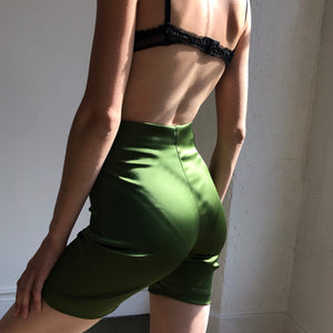 Limited Edition Bettina Cycle Short In Emerald Satin - FINAL SALE