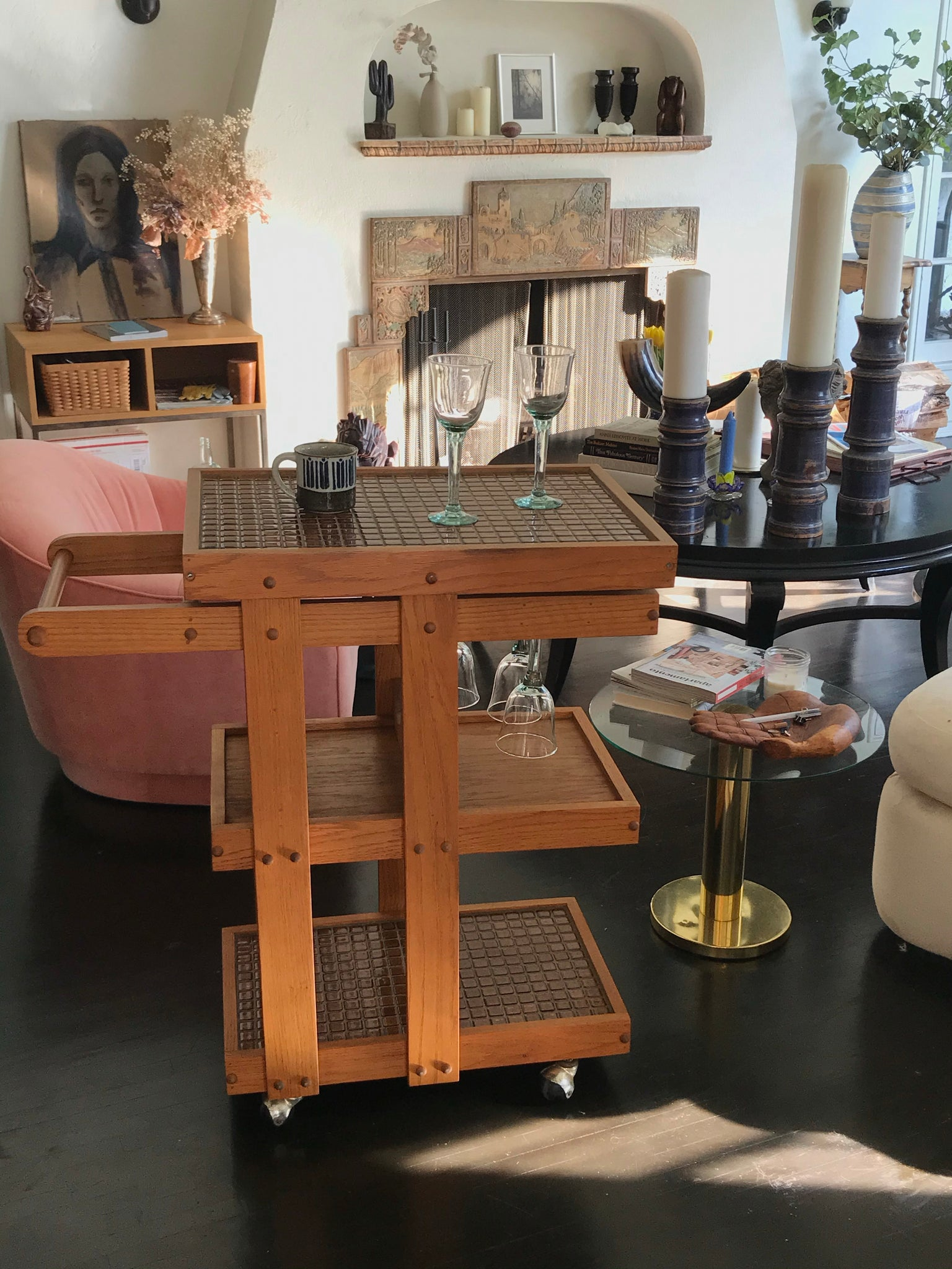 Mid Century Modern Folk Bar Cart - Pickup in LA only