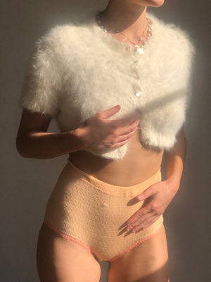 Cropped 1960s Angora Knit- Size Small