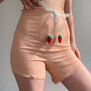 Berry Peach Nylon Ruffle Shorts - Size Small