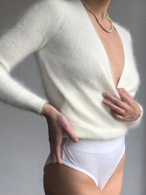 Sequined Ivory Deep V Neck Angora - Multiple Sizes Available