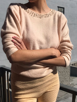 Blush Pearl Collar Angora Knit- Size Small to Medium