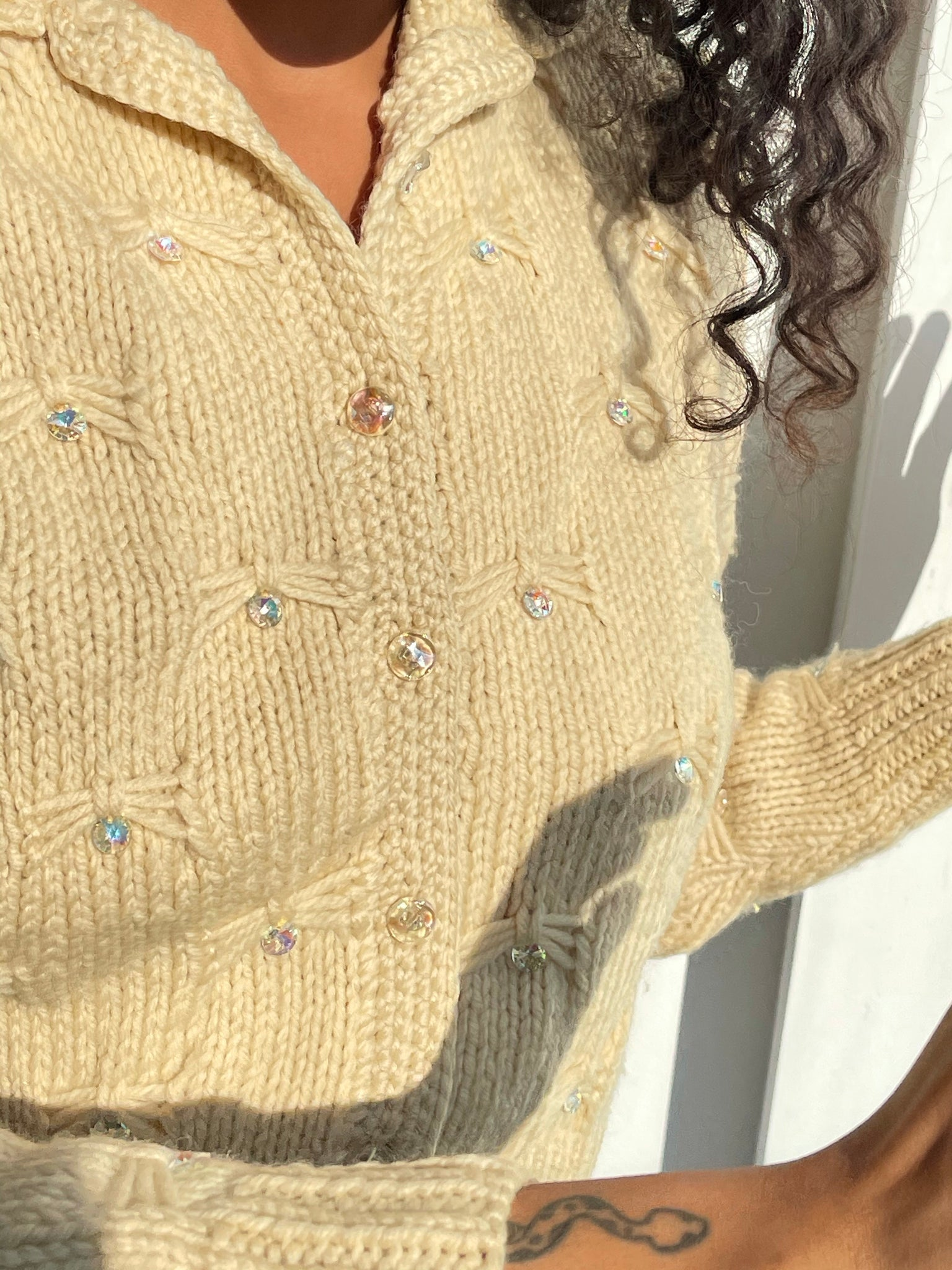 Petite Wool Cardigan With Beaded Details - Size Small
