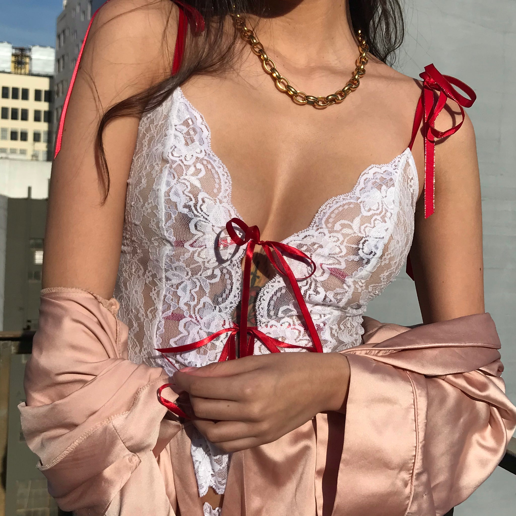 Lily Lace Cami In Rose