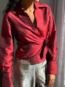 Crimson Raw Silk Wrap - Size Medium