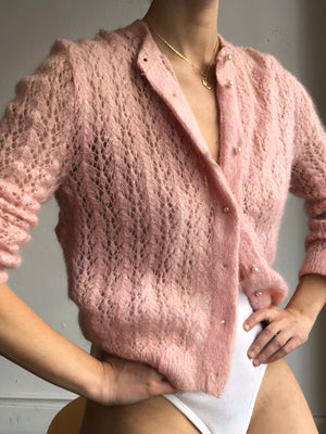 1960s Pale Blush Pearl Knit 1960s -Size Small