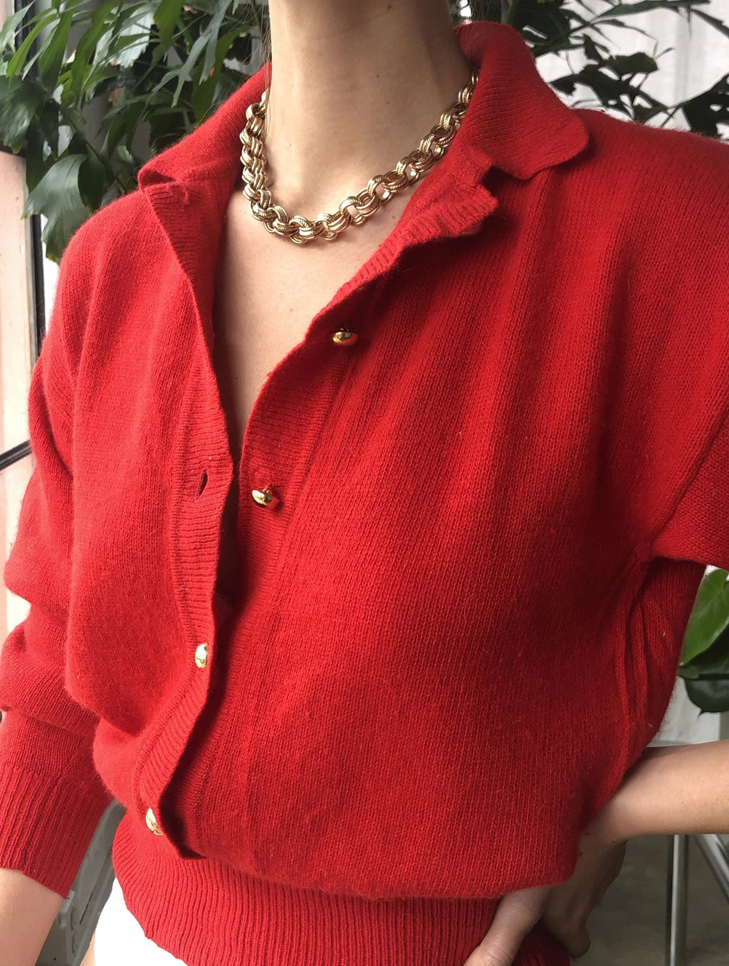 Crimson Angora With Gold Button Detail - Size Small To Medium