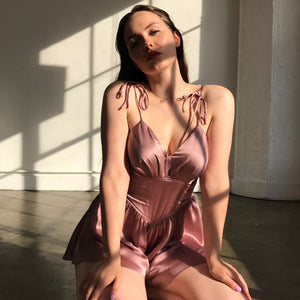 Lucy Silk Teddy In Morning Mauve