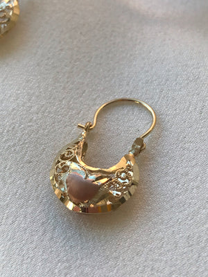 Two Designs - Vintage 14k Yellow and Rose Gold Basket Earrings