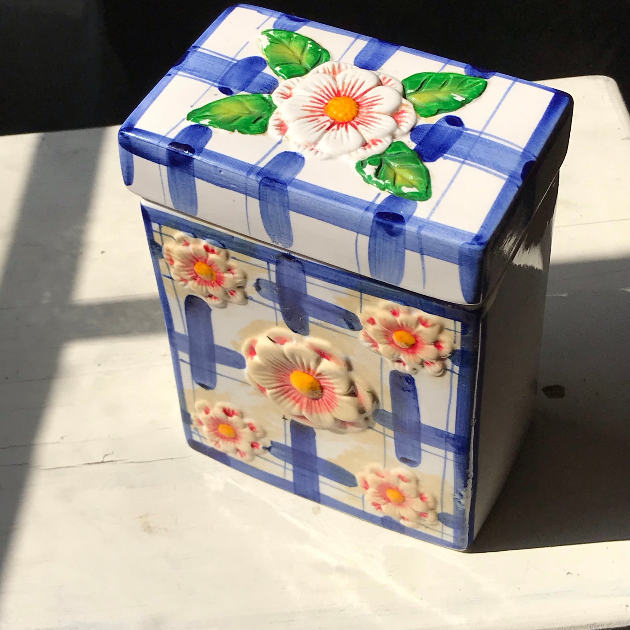 1990s Hand-Painted Ceramic Sugar Container