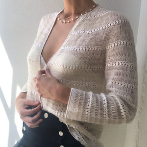 Ivory Vintage Mohair Open Cardigan - Size Small to Medium