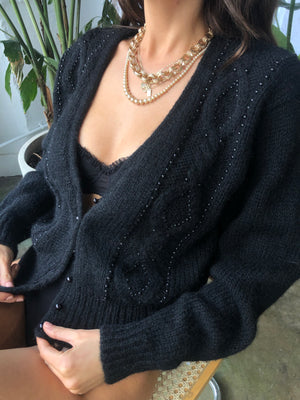 Vintage Noir Beaded Mohair Cardigan - Size Small