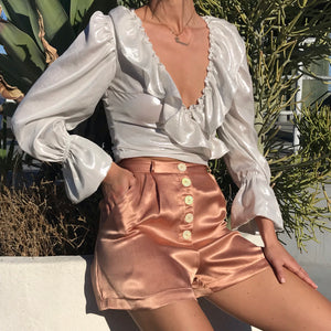 Pleated Shorts in Boudoir Peach Satin
