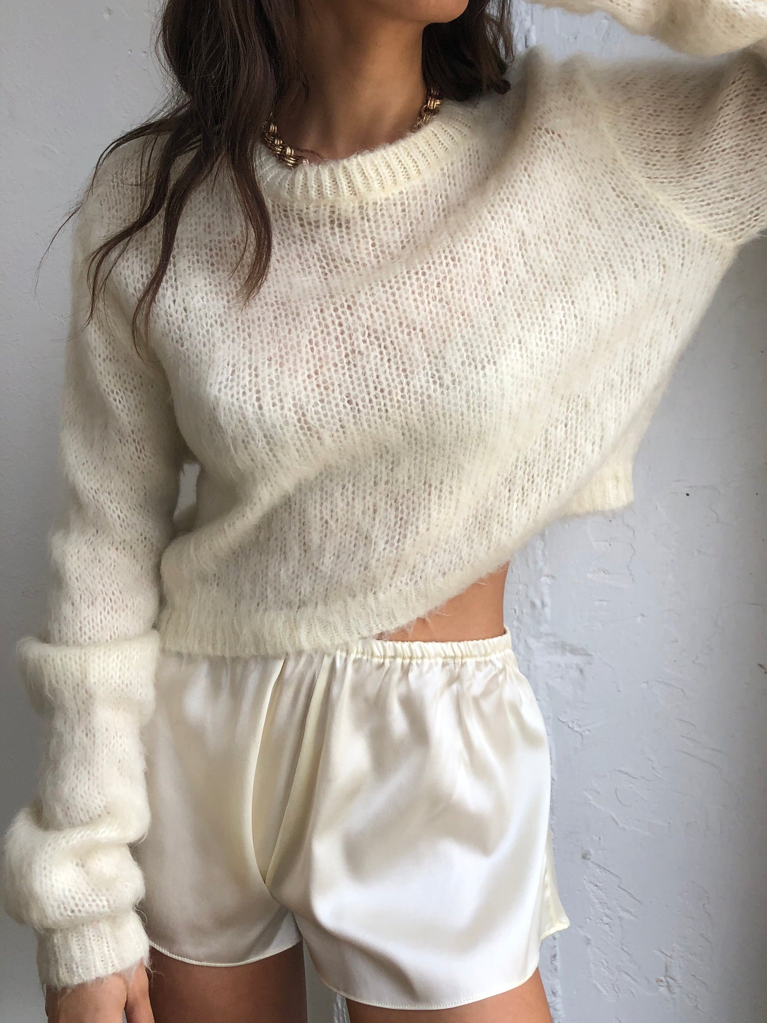 Ultra Fuzzy Cropped Vintage Mohair Knit Size - Sm/Md