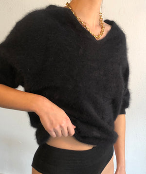 Essential Noir Super Soft Angora Knit - Size Small To Large