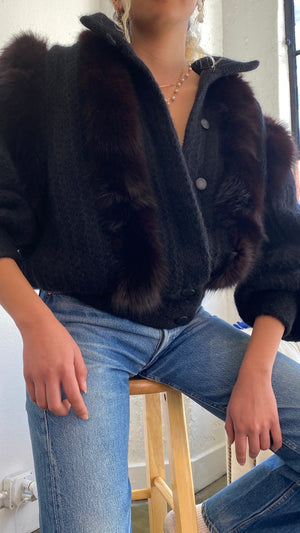 Mohair Bomber With Exaggerated Sleeves - Size Medium to Large