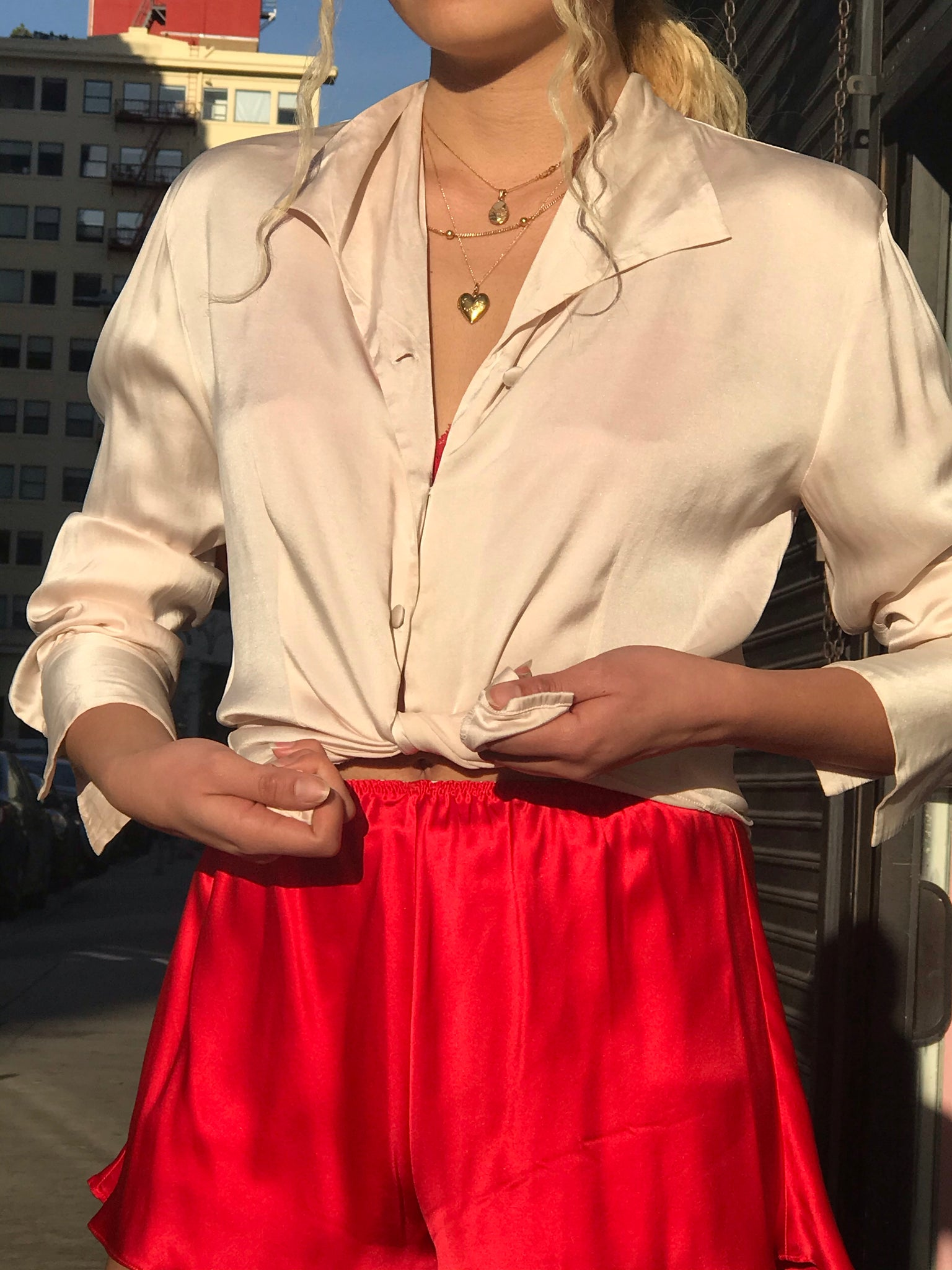 Blush Satin Silk Blouse From France - Size Small