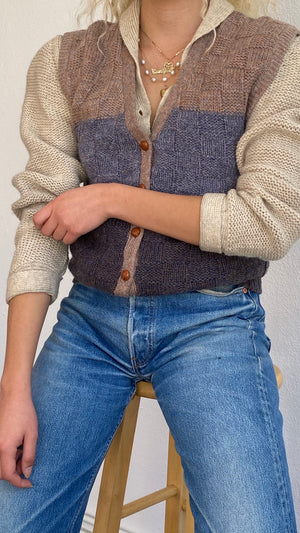 Original 1970's Wool Colorblock Vest - Size Xs to Sm