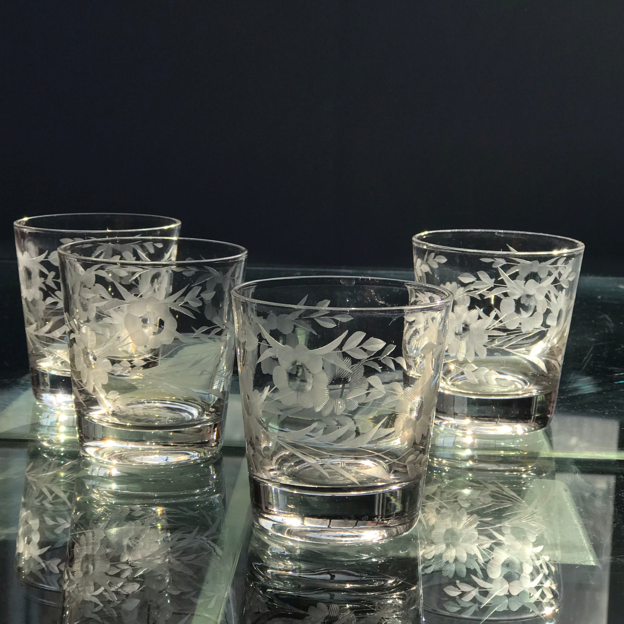 1930s Etched Glass Drinking Set