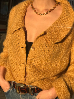 Textured Butterscotch Mohair Knit - Size Medium