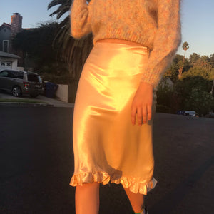 Satin Bias Midi Skirt In Mango