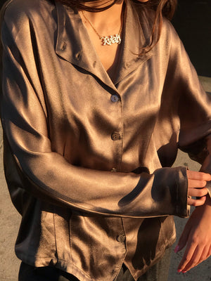 Mocha Silk Crepe Button Down - Size Small - Large