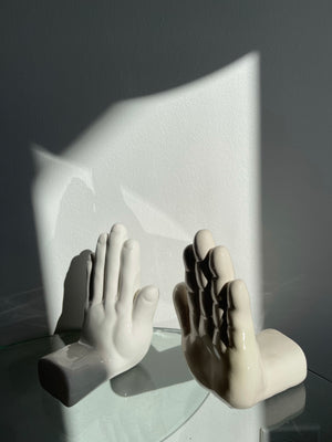 1980s Helping Hands Modern Bookends