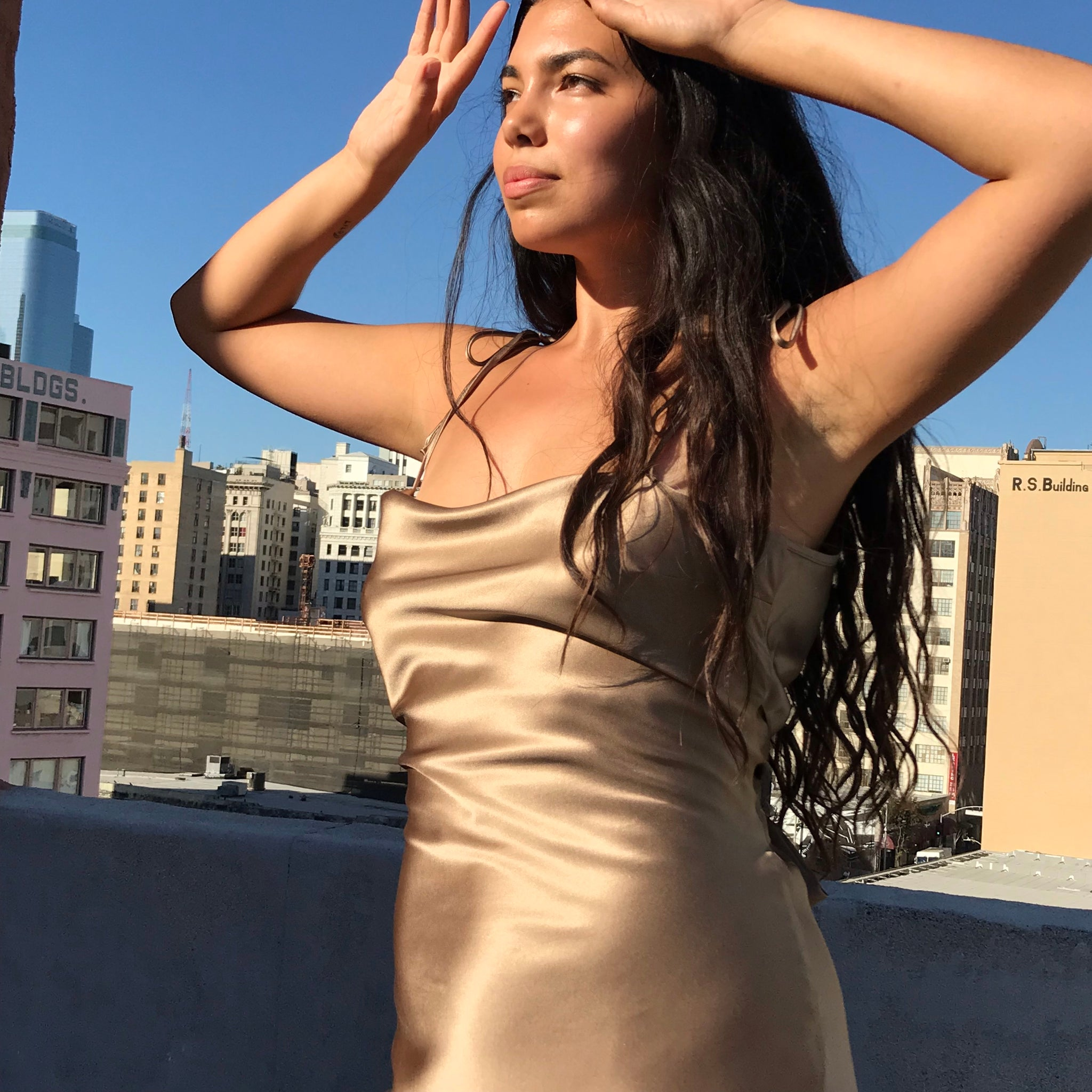Venus Silk Dress In Mocha