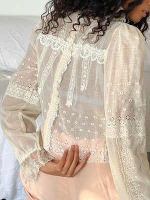 Incredible 1970s Designer Lace Blouse - Size Small/Medium