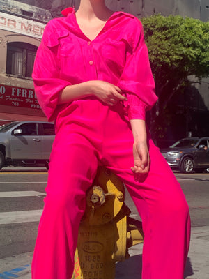 Hot Pink Silk Blouse and Trousers - Size Small to Large