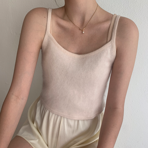 1990s Cropped Angora Tank- Size Small to Medium