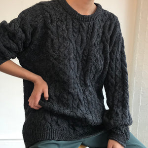 Steel Chunky Wool Knit- Size Large