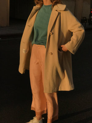 Minimal 1950s Latte Camel Hair Swing Coat Size Sm-Med
