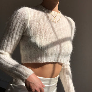 Ivory Cropped Mohair Knit - Size Small