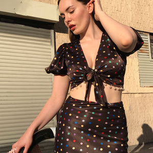 Layla Set In Mocha Silk Dot AT COST $72 FINAL SALE