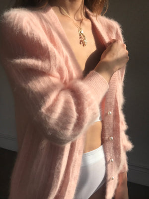 Unbelievable Blush Oversized Angora Cardigan - Size Sm/Lg
